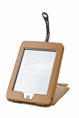 Brown Genuine Leather Kindle Touch eReader Stand Case With Black Clip On Light