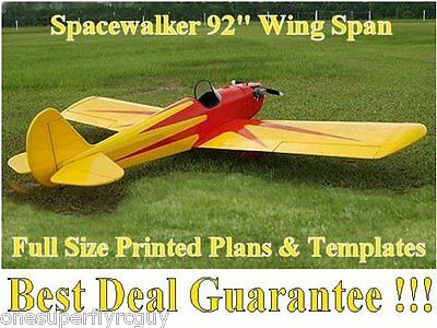 """Spacewalker 92"""" WS Giant Scale RC Airplane Full Size PRINTED Plans & Templates"""