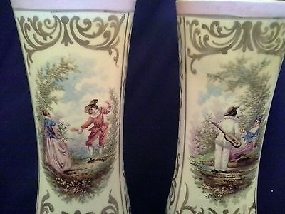 Antique c 1763 PAIR of Pink MEISSEN PORCELAIN VASES Hand Painted LOVERS