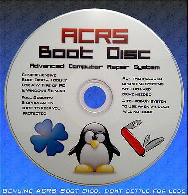 PC Adv File Restore System &Boot CD Recovery Disc 4 Windows 7, 8, XP, VISTA A7ZX