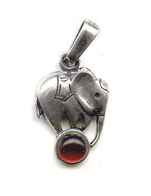 """Sterling  Silver Elephant with Baltic Amber 1.5gr 12x16mm 1""""w/ bail 21115Q"""