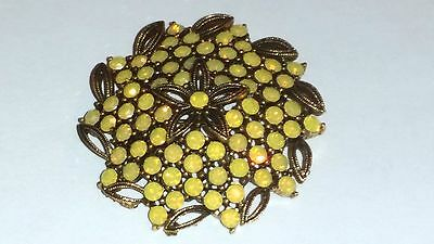 Lisner yellow opalescent vintage brooch pin