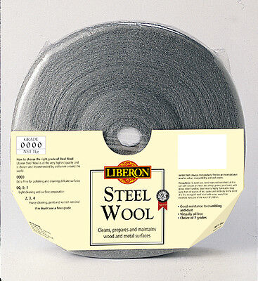 LIBERON 1kg 0000 ULTRAFINE, HIGH QUALITY STEEL WOOL FREE POST