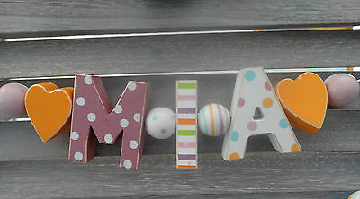 """""""mia"""" Wooden Letters Name Decoration Personalised Shabby Chic Baby Nursery Gift"""