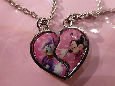 Sturdy & Sweet Disney Minnie Mouse / Daisy Duck Split Heart Friendship Necklaces