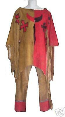 Indian Fringed Handpainted Buckskin Outfit Very Rare!