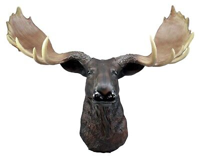 "Large Moose Head Bust Wall Hanging Figurine Home Decor Plaque 23""L"