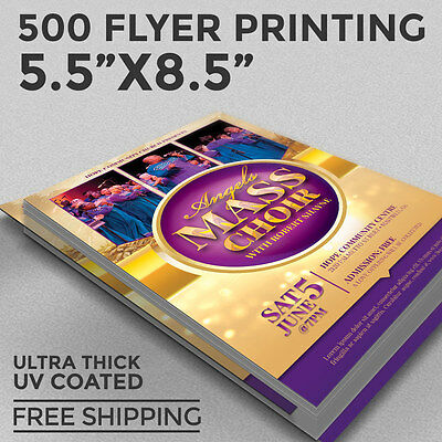 500 Flyer Printing - Custom 8.5x5.5 Full Color - 16pt Thick Stock - UV COATING