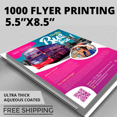 1,000 Flyer Printing - Custom 8.5x5.5 - Full Color - 16pt Stock - Aqueous Gloss