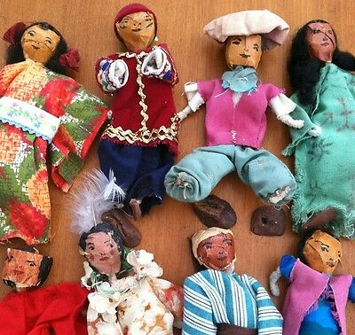 Antique Folk Art Paper Mache Dolls Home Made Primitive Attic Find RARE very OLD
