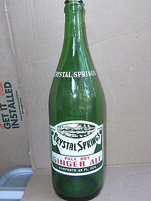 Crystal Springs Pale Dry Ginger Ale, 28 oz., 1957 Auburn, Maine