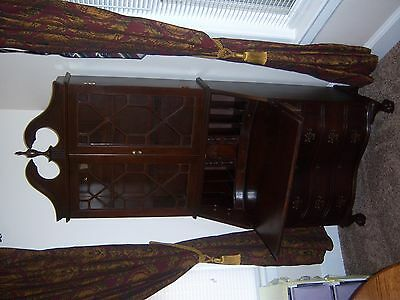 Antique Mahogany 4 Drawer  Drop-Front Secretary Cabinet Desk with lock and key