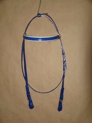 Light-Weight Running Style Race Head Bridle from PVC - Blue/White