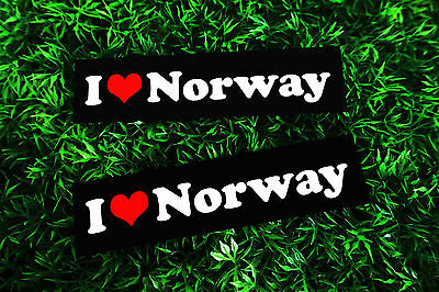 Lot of 2 Pieces VTG I Love Norway Suitcase Bike Car Travel Decor Vinyl Stickers
