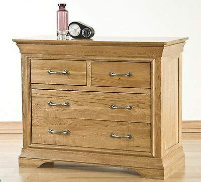 Lourdes solid oak bedroom furniture 2 over 2 chest of drawers