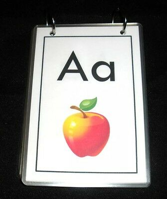 Laminated Alphabet Flashcards w/ Pictures Bound by Rings Preschool Learning ABC