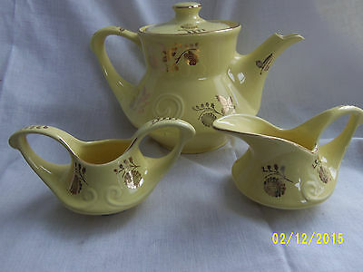 Vintage Pearl China Co. Coffee Pot, Creamer & Sugar Bowl  22kt. Gold Trim