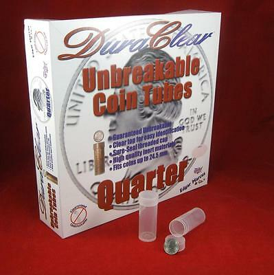 100 Round Quarter 24.3mm DuraClear Unbreakable Coin Tubes Made in the USA