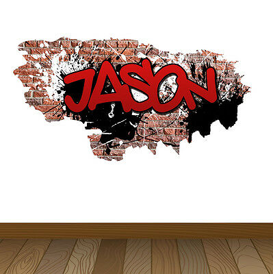 Personalised Name Graffiti Brick Name Wall Sticker Decal Decor Bedroom #G1