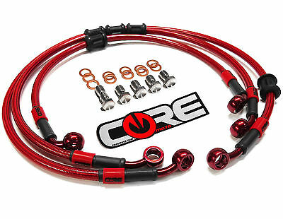 Honda Cbr1000Rr 2006-2007 Steel Braided Front And Rear Brake Lines Trans Red