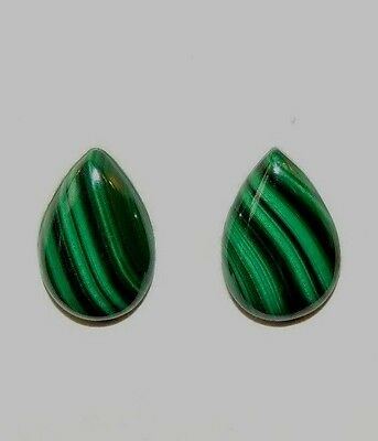 Malachite 10x15mm Cabochons Set of 2 from Africa (8494)