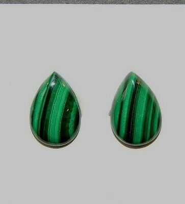 Malachite 10x15mm Cabochons Set of 2 from Africa (8496)