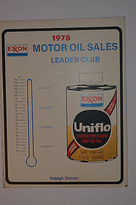 "VINTAGE '1978 EXXON MOTOR OIL SALES LEADER CLUB' HEAVY CARDBOARD SIGN! 9x12"" CAN"