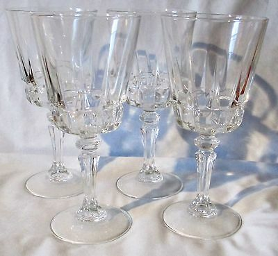 Crystal Cristal d'Arques Durand Lady Victoria Chantelle Water Glasses set of 4