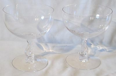 "Fostoria Crystal Contour Champagne ot Tall Sherbet Goblet Stem 4 3/8"" Pair"
