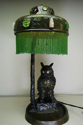 Antique Austrian Bronze Art Nouveau Deco Owl Glass Jeweled Arts And Crafts Lamp