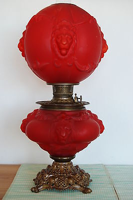 Antique Victorian Gwtw Oil Kerosene Glass Red Satin Lion Banquet Whimsical Lamp