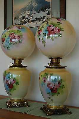 2 Gwtw Victorian Antique Old Hand Painted Roses Vintage Kerosene Oil Parlor Lamp