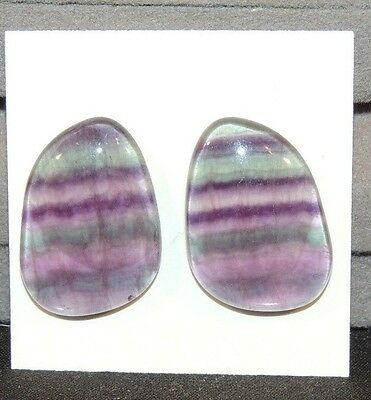 Fluorite Cabochons 23x17mm Free Form set of 2 (8471)
