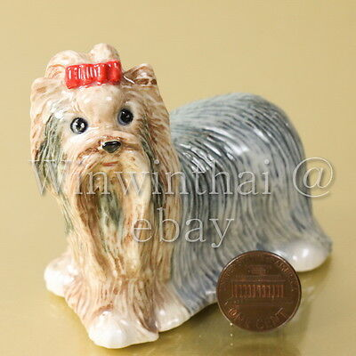YORKSHIRE TERRIER DOG PUPPY CERAMIC POTTERY ANIMAL MINIATURE FIGURINE