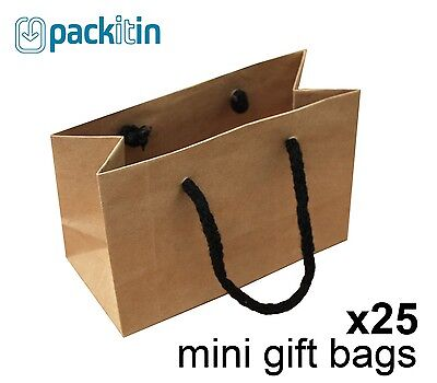 x25 MINI KRAFT BROWN paper gift CARRY party BAGS with handles MINI (100 x 150mm)