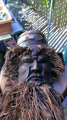 "Vintage Bamboo Root Face Mask Carving 14"" Length."
