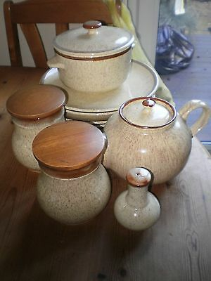 PRINKNASH OATMEAL & BROWN SPECKLED POTTERY-TEA POT,PLATES,CASSEROLE,STORAGE JARS