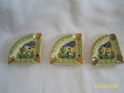 Vintage Miniature Ceramic Ashtray Set of 3 Japan Green & Gold Triangle Shape