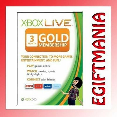 Xbox live 3 Month Gold Membership - Xbox One & 360 - Instant Dispatch