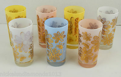 Mid-Century Modern Set 7 Frank Maietta Frosted Pastel Tumbler Glasses MCM Flower