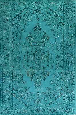 6x10 Ft,  Aqua Blue Teal color OVERDYED Handmade Vintage Turkish RUG, a239