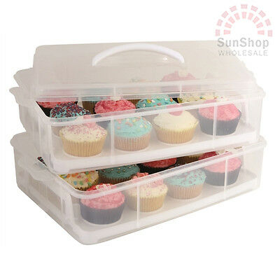 D.LINE Daily Bake 24 Cup Stackable Cupcake Carrier Removable Trays & Cliplocks!