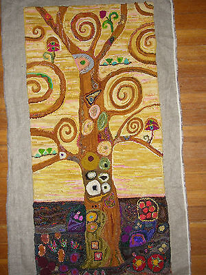 "Rug Hooking Pattern "" KLIMT TREE"" on natural linen"
