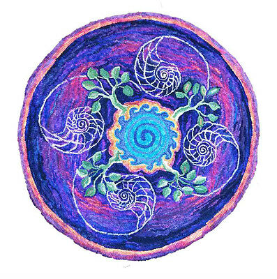 "Rug Hooking Pattern "" OCEAN MANDALA "" on natural linen"
