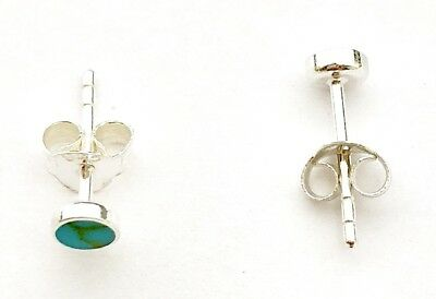 925 Sterling Silver TURQUOISE Tiny Button Stud Earrings, 3 mm Diameter