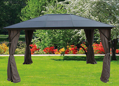 pavillon gartenpavillon 3x4 m beige mit seitenteilen und fliegengitter. Black Bedroom Furniture Sets. Home Design Ideas