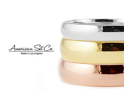 Solid 14K Gold Shiny High Polish Plain Comfort Fit Wedding Band Ring Mens Women