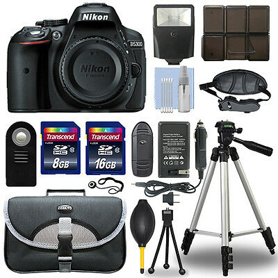 Nikon D5300 24.2 MP Digital SLR Camera Body + 24GB Top Accessory Bundle