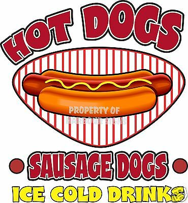 """Hot Dogs Sausage Ice Cold Drinks Decal 14"""" Restaurant Concession Food Truck"""