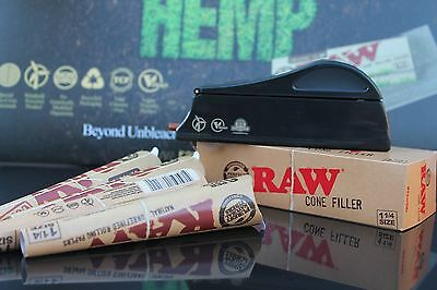 RAW rolling papers loader/shooter/FILLER and (48) Prerolled 1 1/4 size CONES